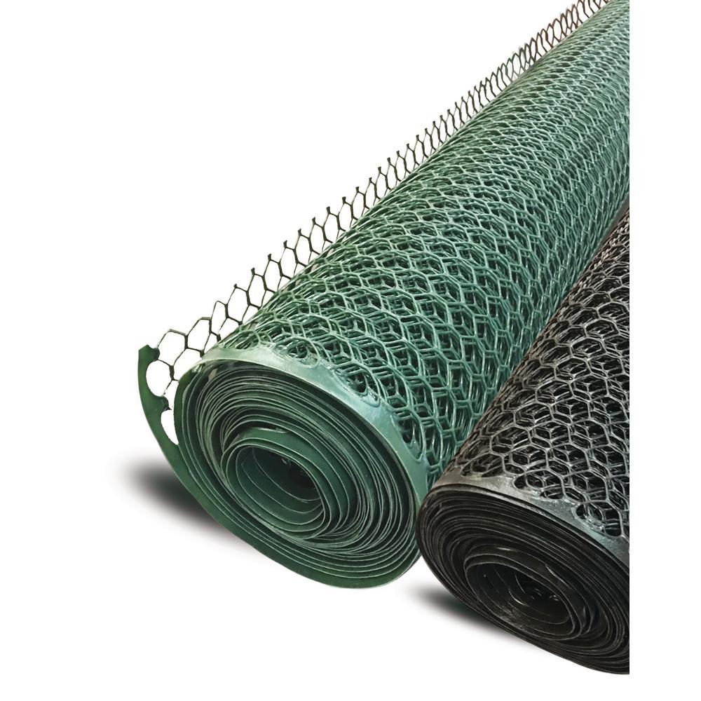 3 ft. x 25 ft. Plastic Poultry Hex Garden Fence Netting, Black