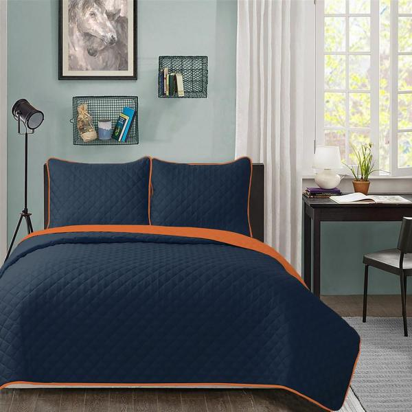 Blue All-Over Design 3-Piece Reversible Bedspread Coverlet Quilt Set with Shams