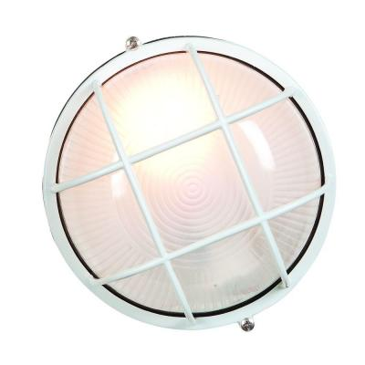 Nauticus 1-Light White Outdoor Bulkhead Light with FrostedGlass Shade