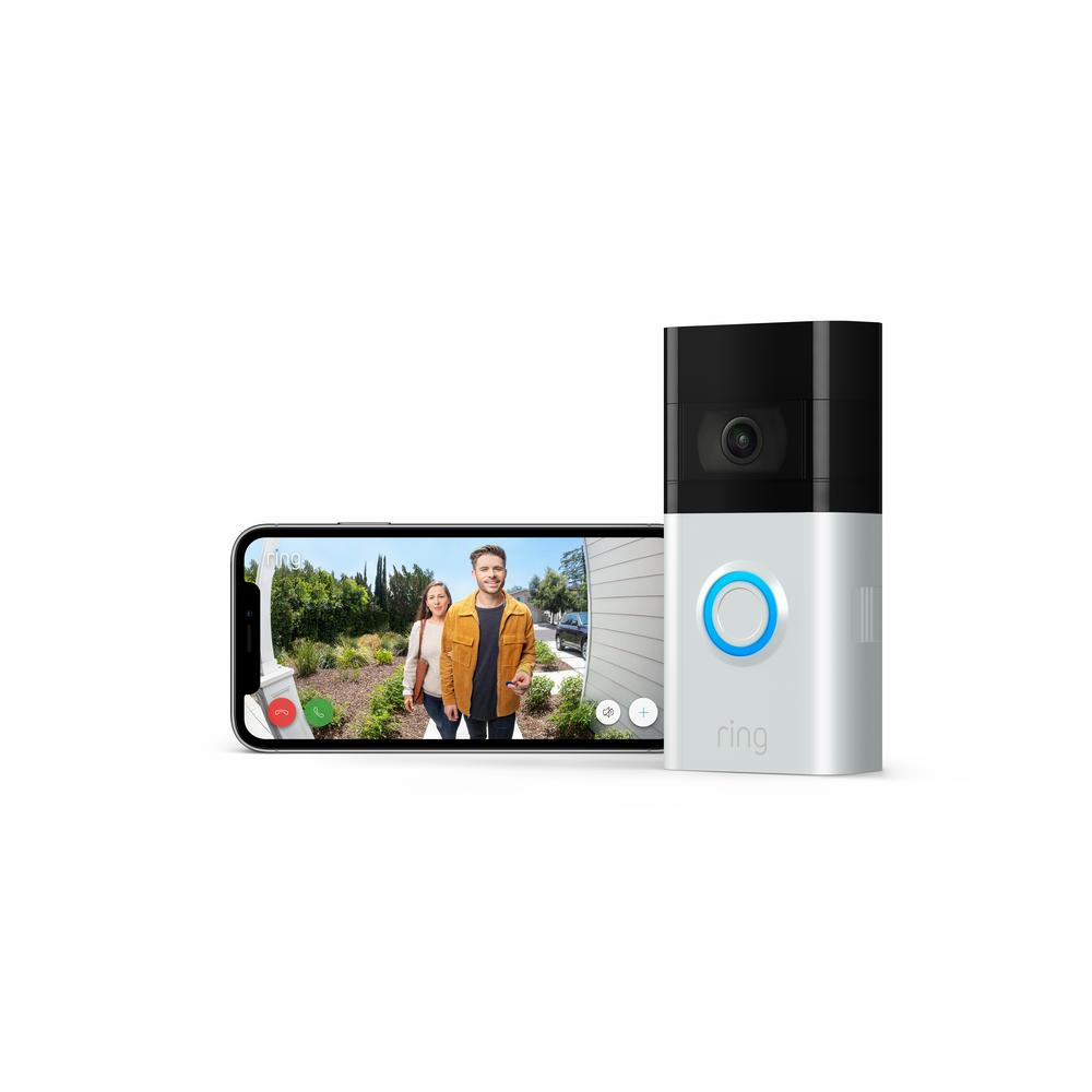 Amazon Wireless and Wired Video Doorbell 3 Smart Home Camera with Echo Show 5- Sandstone, Satin Nickel