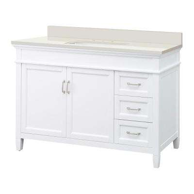 Ashburn 49 in. W x 22 in. D Vanity in White with Engineered Marble Vanity Top in Winter White with White Sink