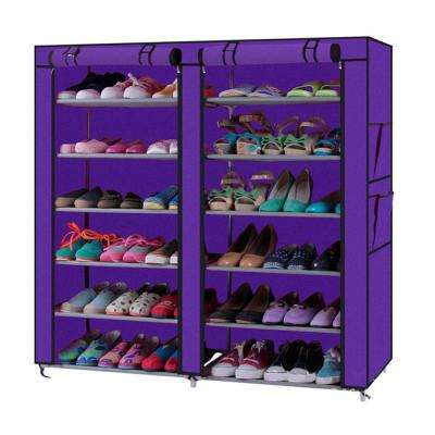 12-Lattices Purple Shoe Cabinet Dual Rows Shoe Organizer
