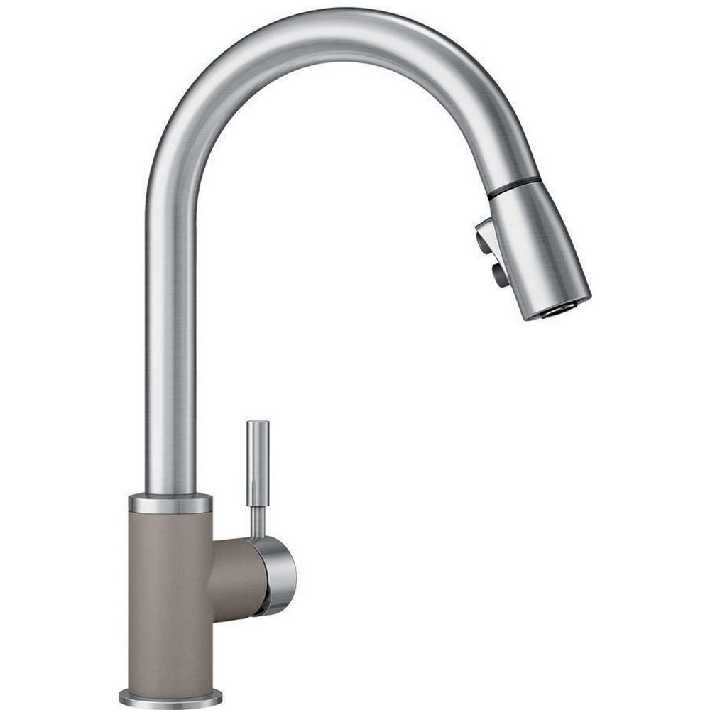 Blanco Sonoma Single-Handle Pull-Down Sprayer Kitchen Faucet in  Truffle/Stainless