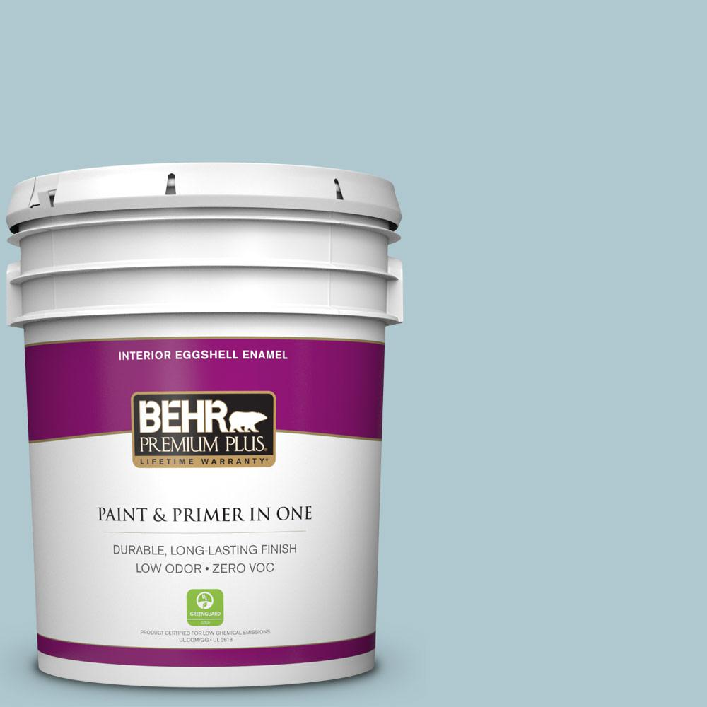 BEHR Premium Plus 5-gal. #HDC-SM14-8 Floating Blue Zero VOC Eggshell Enamel Interior Paint