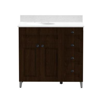 36 in. Metal Bathroom Vanity in Espresso with Iced White Engineered Marble Vanity Top and White Sink