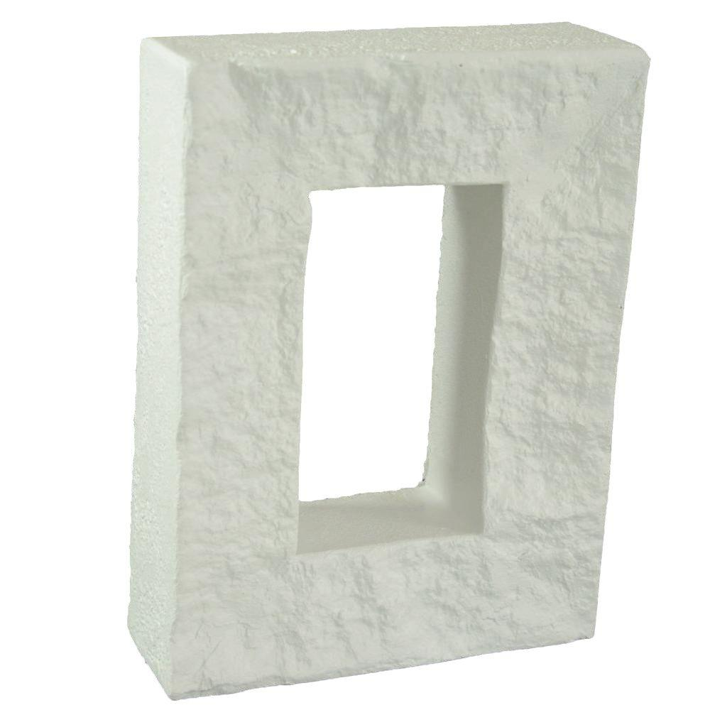 Superior Building Supplies 3½ in. x 5¾ in. x 1¾ in. Faux Stone/Brick Outlet Cover in Dove White Superior Building Supplies - Superior Faux Electrical Outlet Cover. The Superior Faux Electrical Outlet Covers designed to be used with the Superior Tennessee Stack, Grand Heritage and Reclaimed brick panel. These outlet covers are made from high density polyurethane and are 5 3/4 in. L x 3 1/2 in. W x 1 3/4 in. D. Superior faux outlet covers allow for switches, plugs and etc. to be moved forward so that they are now flush with your decorative faux stone or brick paneling. The outlet cover can be installed both vertically and horizontally. Though the Superior faux outlet cover is not a necessity for installation, it does provide that finished touch and easy accessibility to your outlets. Color: Dove White.