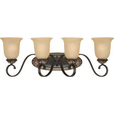 Bristol 4-Light Indoor Vintage Bronze with Antique Gold Bath or Vanity Wall Mount with Sepia Glass Bell Shades