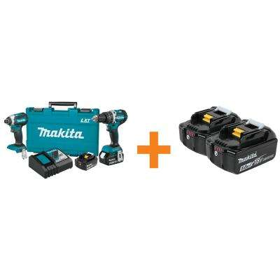 18-Volt LXT Lithium-Ion Brushless Cordless Hammer Drill and Impact Driver Combo Kit with Bonus 2 Batteries 5.0Ah