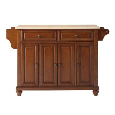 Cambridge Cherry Kitchen Island with Wood Top
