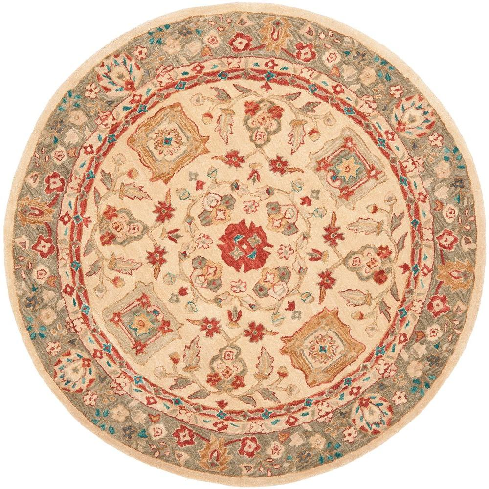 safavieh anatolia beige green 4 ft x 4 ft round area rug an511a 4r the home depot. Black Bedroom Furniture Sets. Home Design Ideas