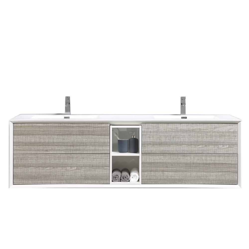 Eviva Vienna 74.80 in. W x 20.70 in. D x 21.60 in. H Vanity in White-Oak with Acrylic Vanity Top in White with White Basin