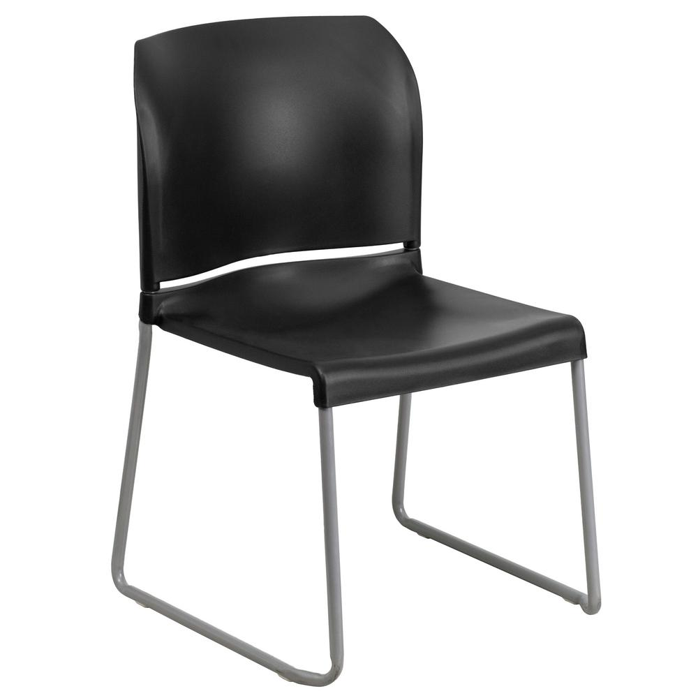Flash Furniture Hercules Series 880 Lb. Capacity Black Full Back Contoured  Stack Chair With Sled