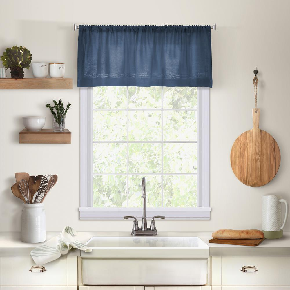 Elrene Cameron Single Window Kitchen Valance in Indigo - 60 in.