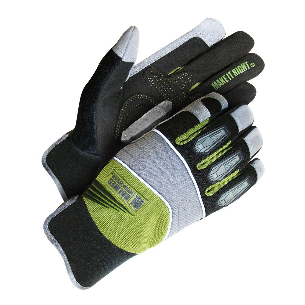 Holmes Workwear XL Size Green Mechanics Glove with TPU Finger Protection, Reinforced Palm and Hi-Viz Piping-DISCONTINUED