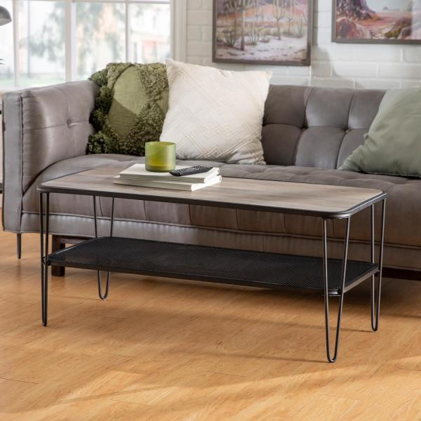 42 in. Grey Wash Mid Century Modern Wood Coffee Table with Lower Mesh Shelf