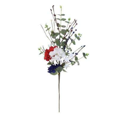 27 in. Red White and Blue Patriotic Hydrangea Spray
