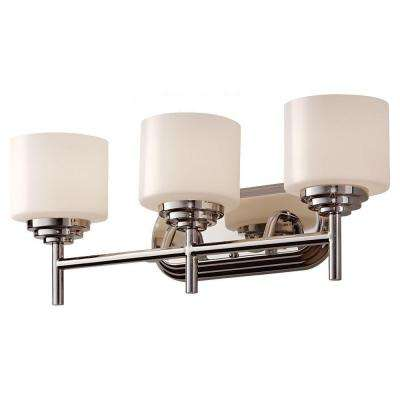 Malibu 22.06 in. W 3-Light Polished Nickel Contemporary Bathroom Vanity Light with Opal Etched Glass Shades