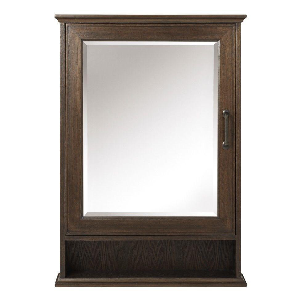 Walden 24 in. W x 34 in. H x 7.25 in. D Framed Surface-Mount Bathroom Medicine Cabinet in Mocha