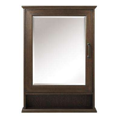 Walden 24 in. W x 34 in. H x 7.25 in. D Framed Surface-Mount Bathroom Medicine Cabinet in Mocha