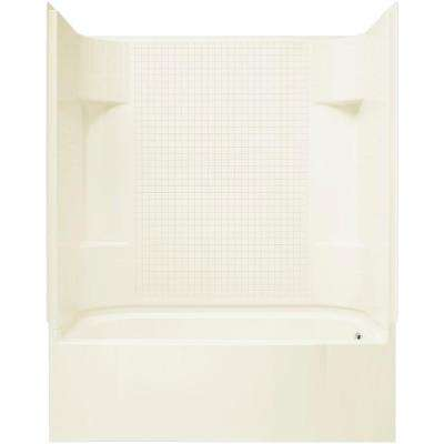 Accord 60 in. x 30 in. x 72 in. Bath and Shower Kit with Right-Hand Drain in Biscuit