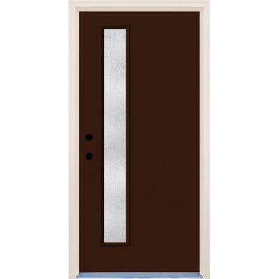 36 in. x 80 in. Right-Hand Earthen 1 Lite Rain Glass Painted Fiberglass Prehung Front Door with Brickmould