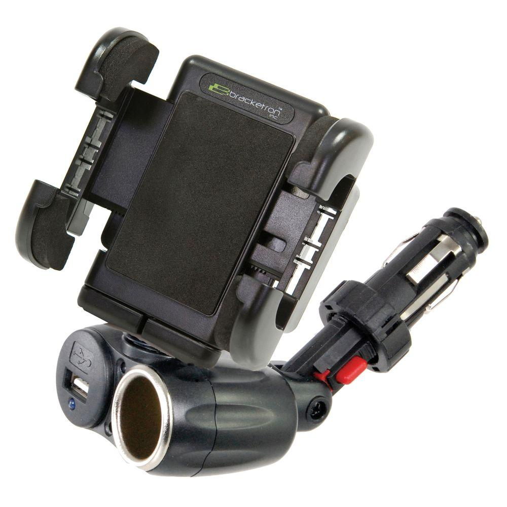 Power Dock Dual Auxiliary USB Power Mount with Grip-iT for GPS,