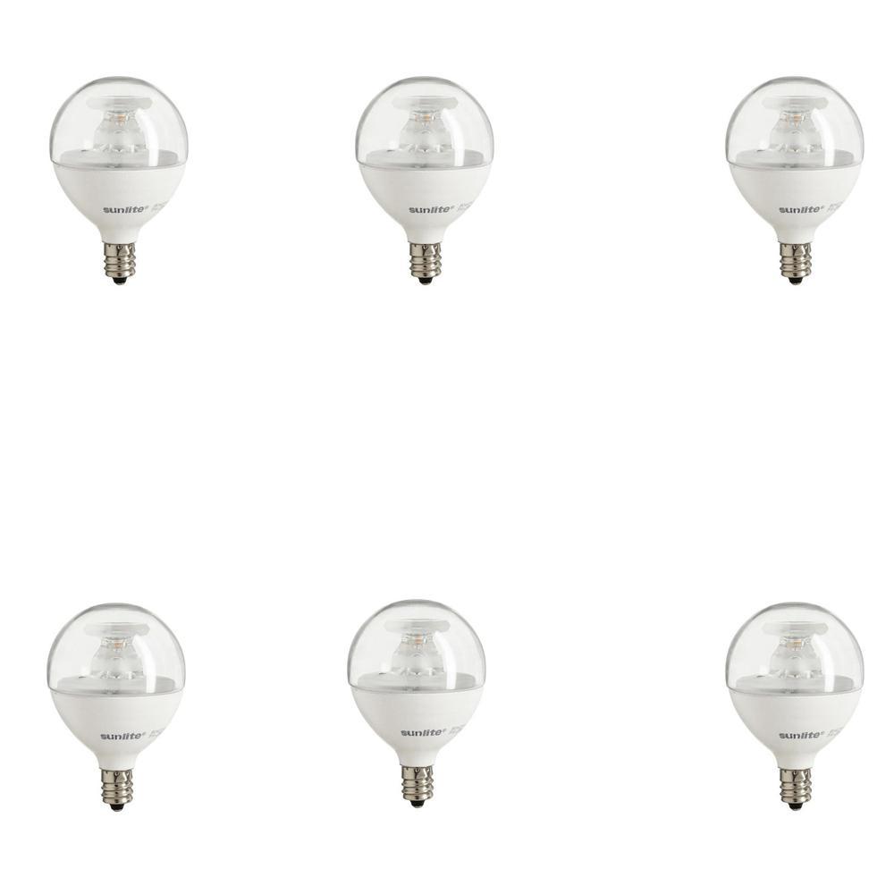 Sunlite 40-Watt Equivalent Clear Warm White G16.5 Dimmable LED Light Bulb (6-Pack)