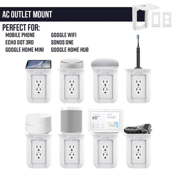 The Simplest Wall Mount Holder Stand Bracket for Google WiFi Routers and Beacons Google WiFi Outlet Holder Mount: No Messy Screws! 1-Pack New 2020 /– Present Version /– Round Plug