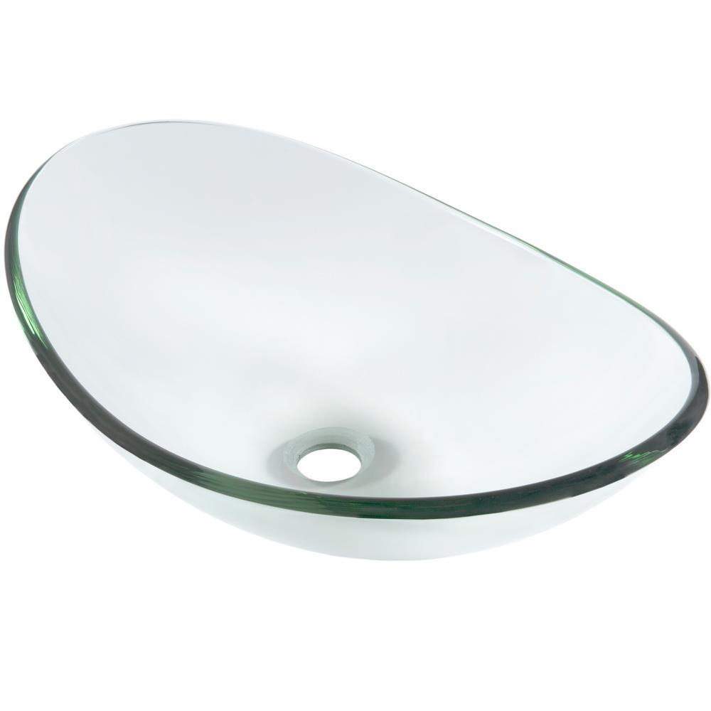 Novatto Chiaro Oval Slipper Glass Vessel Sink In Clear Tis 324c The Home Depot