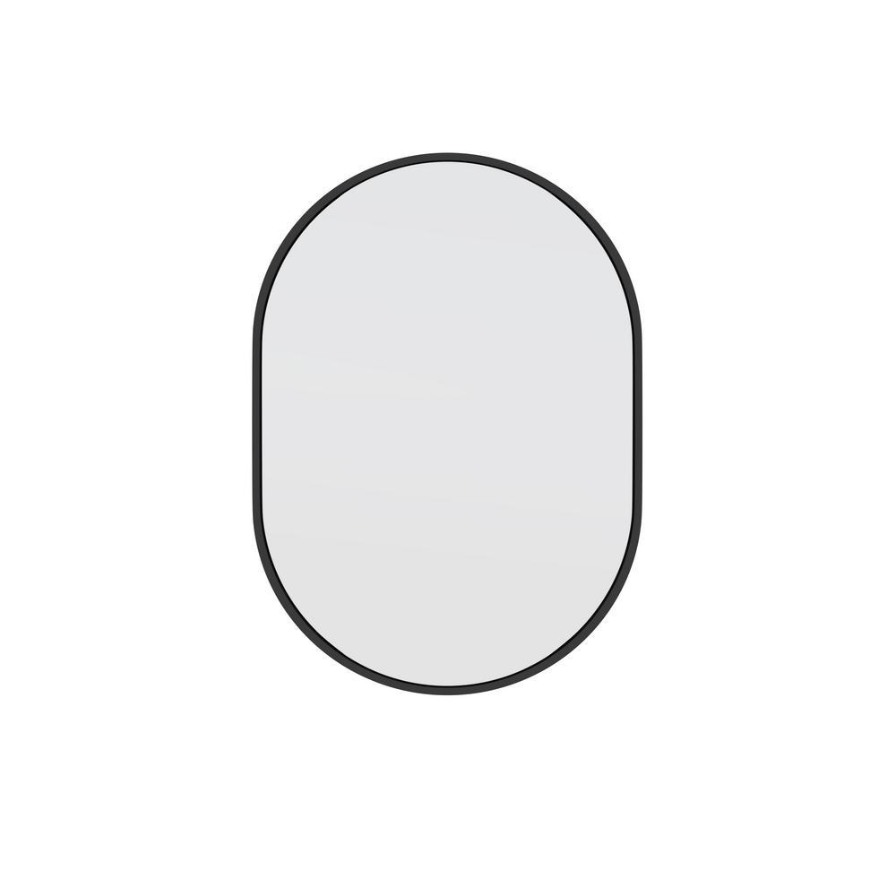 20 in. W x 28 in. H Stainless Steel Framed Pill Shape Bathroom Vanity Mirror in Black