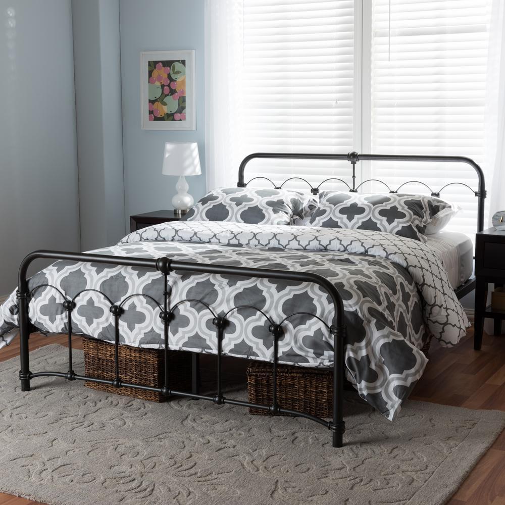 Celeste Vintage Industrial Black Finished Metal Queen Size Bed
