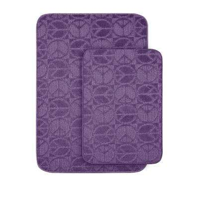 Peace Purple 20 in x 30 in. Washable Bathroom 2 -Piece Rug Set