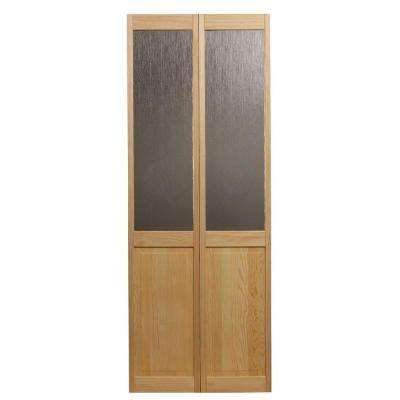 30 in. x 80 in. Rain Glass Over Raised Panel 1/2-Lite Pine Interior Wood Bi-Fold Door