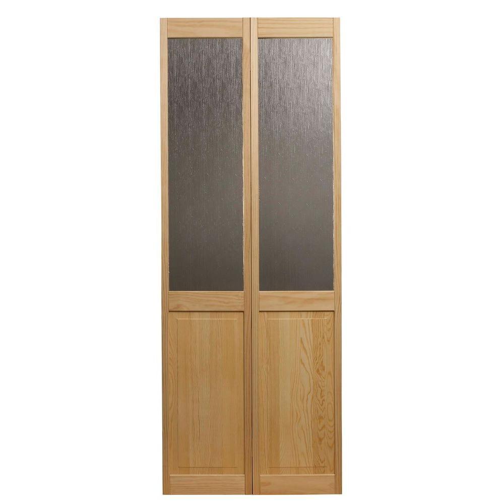 30 in. x 80 in. Rain Glass Over Raised Panel 1/2-Lite Pine Interior Wood Bi-Fold Door