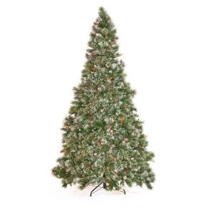 7.5 ft. Pre-Lit Mixed Spruce Hinged Artificial Christmas Tree with Multi-Colored Lights, Snow Branches and Pinecones