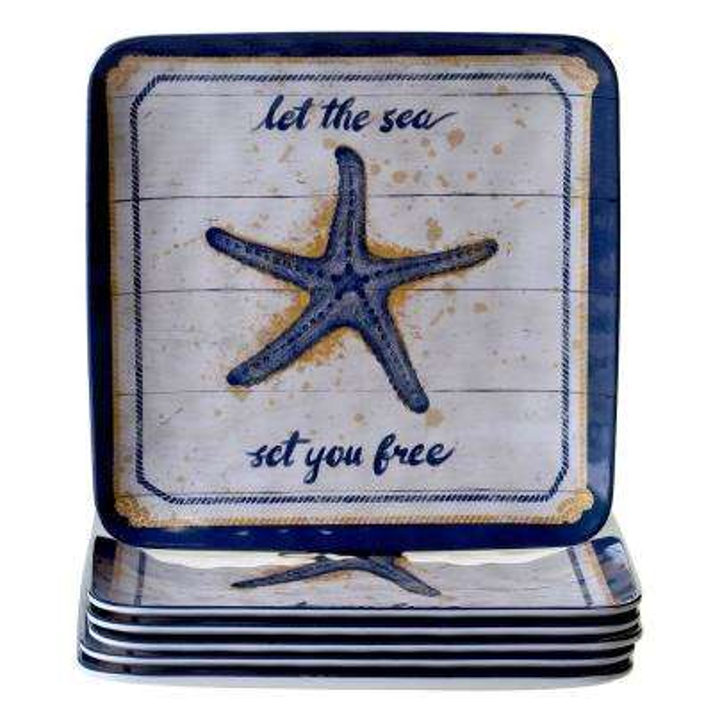 Calm Seas 6-Piece Dinner Plate Set