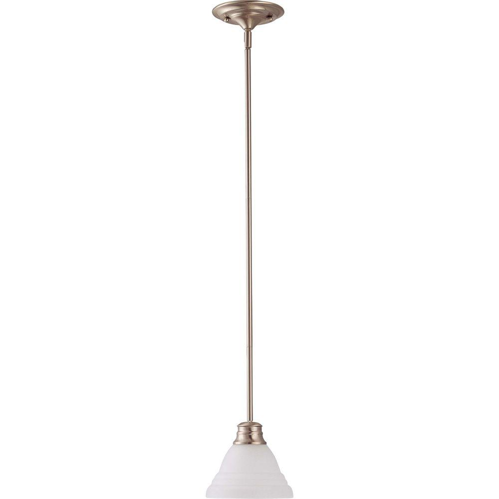 1-Light Brushed Nickel Mini Pendant with Frosted White Glass