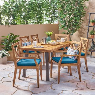 Juniper Teak Brown 7-Piece Wood Outdoor Dining Set with Blue Cushions