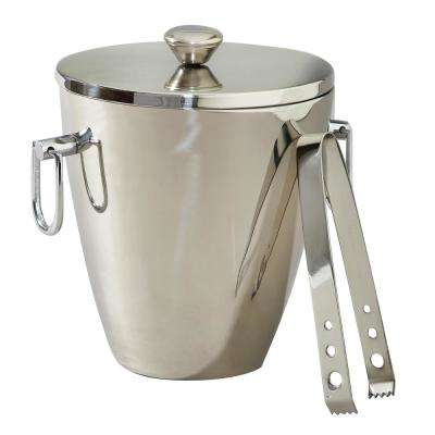Stainless Steel Wine Bucket and Dual Ice Bucket with Lid and Tongs