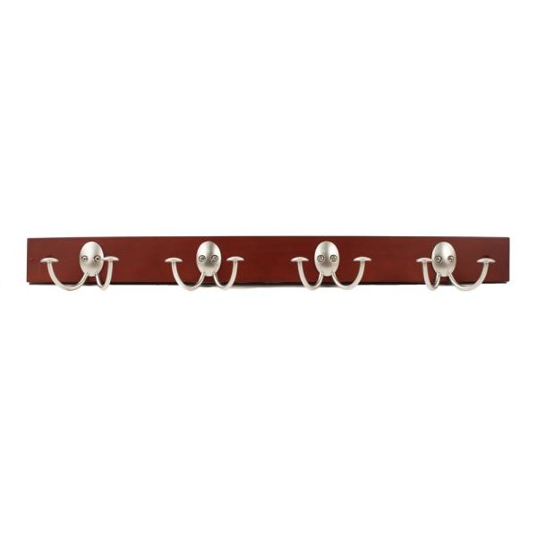 Stratford Walnut Wood 24 in. Wall Mount Rack with 4-Double Satin Nickel Hooks