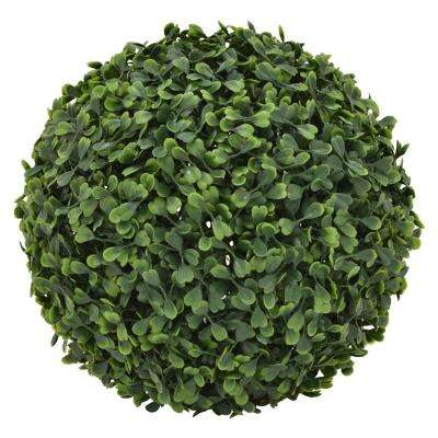 11 in. Artificial Boxwood Ball in Green