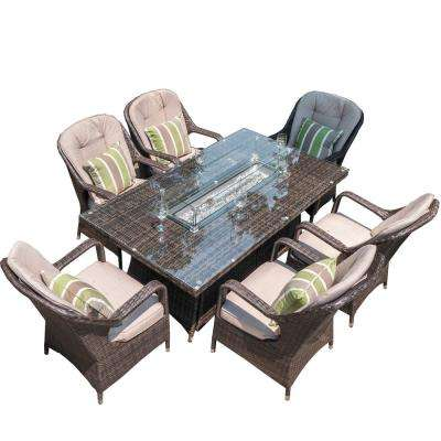 Jade 70 in. x 39 in. x 27 in. H Brown Rectangular Wicker Outdoor Gas Fire Pits Table with 6-Chairs