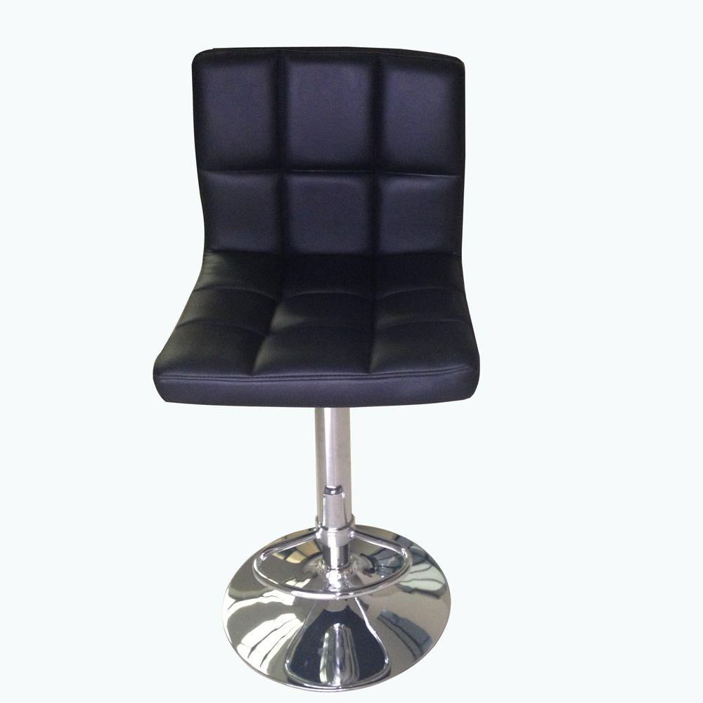 HomeDecoratorsCollection Home Decorators Collection Adjustable Height Black Swivel Cushioned Bar Stool
