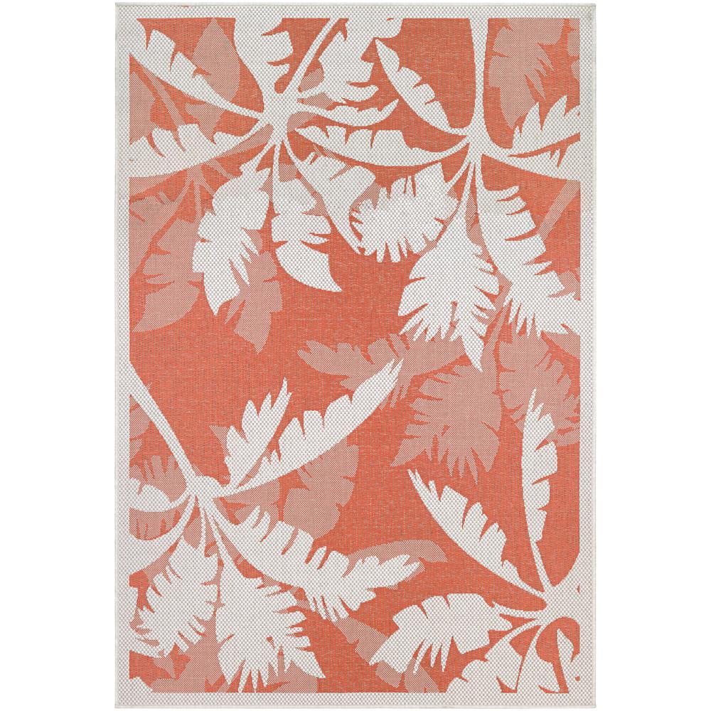 Monaco Coastal Flora Ivory-Orange 8 ft. x 11 ft. Indoor/Outdoor Area Rug