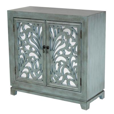HomeRoots Shelly Assembled Blue D Glass Sideboard Base Utility Cabinet with 2-Doors, French Blue
