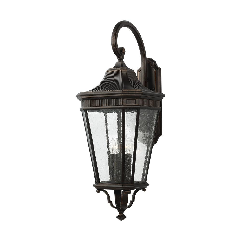 Feiss Cotswold Lane 4-Light Grecian Bronze Outdoor 36.25 in. Wall Lantern Sconce