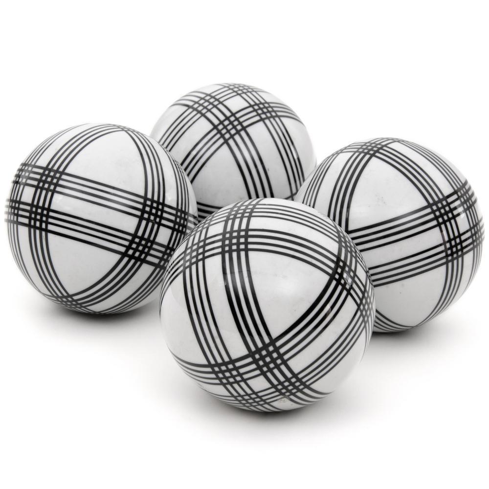 Oriental Furniture 4 in. Black Stripes Porcelain Ball Set