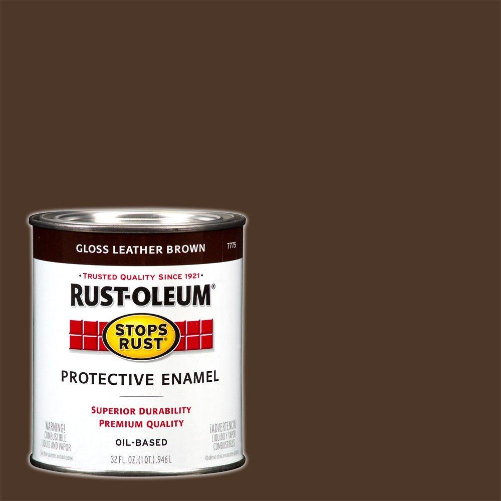Rust Oleum Stops Rust 1 Qt Protective Enamel Gloss Leather Brown