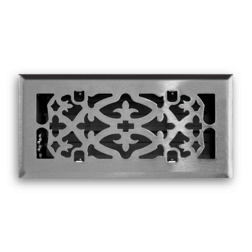 4 in. x 10 in. Ornamental Scroll Floor Diffuser Finished in