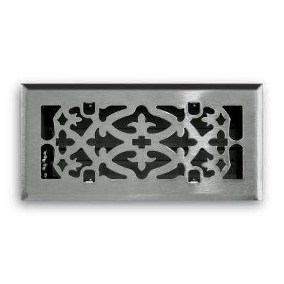4 in. x 10 in. Ornamental Scroll Floor Diffuser Finished in Satin Nickel